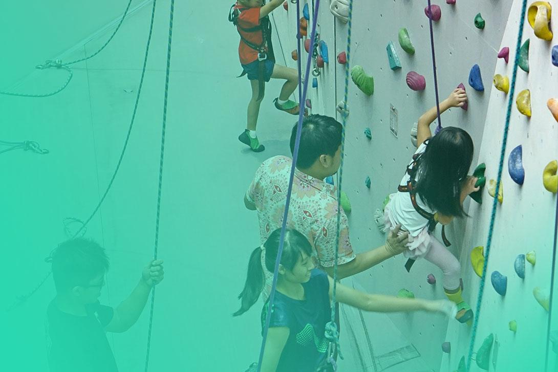 Climbing gym members